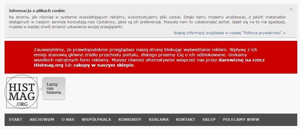 Działanie adblocka na przykładzie histmag.org