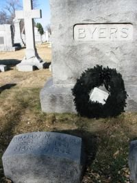 Grave of William Newton Byers, with the final issue of the Rocky Mountain News