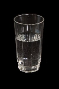 A glass half-filled with water