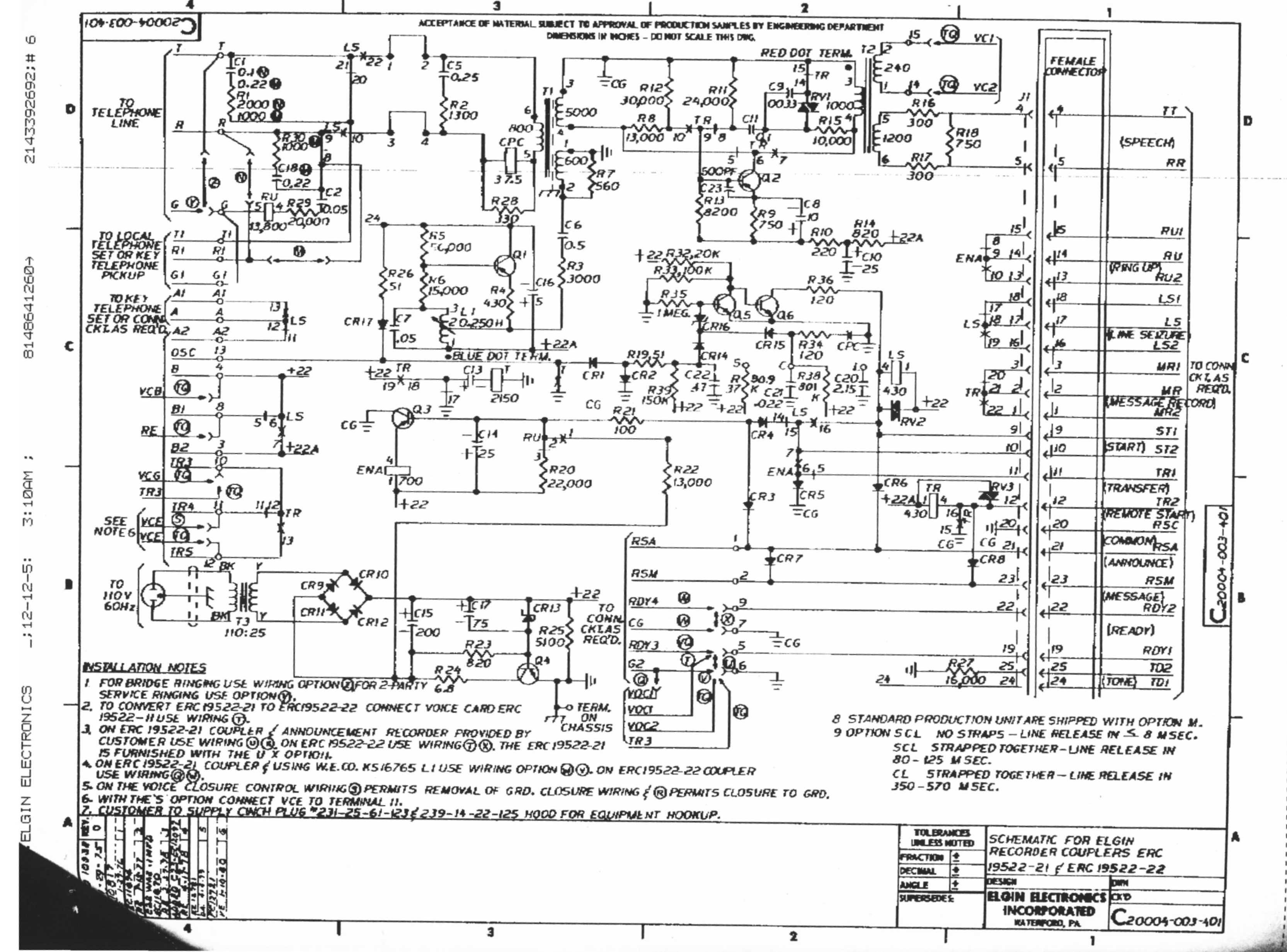 Elgin Electronics ERC-19522 Telephone Coupler