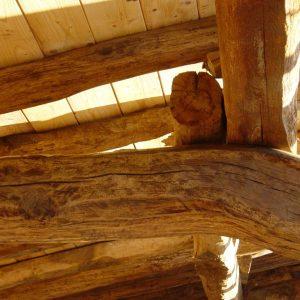 Estructura madera de casa rural ecológica Kaaño etxea.