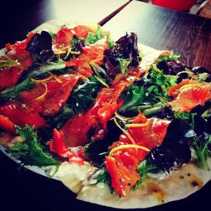 Smoked Salmon Flatbread - Milltown Bar and Grill