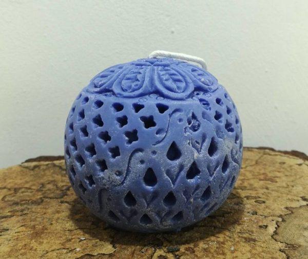 Bolkaars, koolzaadwas, Indische bol, Ø 9 cm x 9 cm, ultra violet