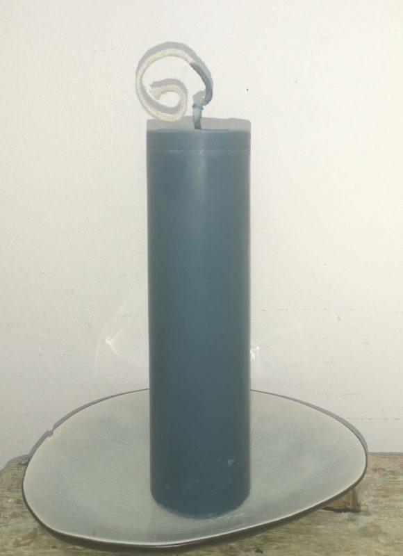 Druipkaars koolzaadwas Ø 4 cm x 15 cm kalk blauw