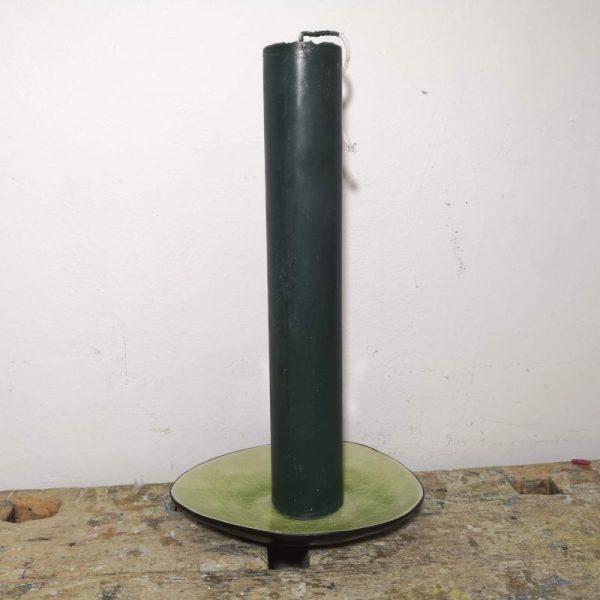 Druipkaars koolzaadwas ø 4 x 25 cm. donker groen