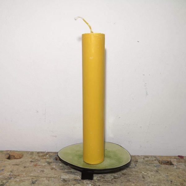 Druipkaars koolzaadwas ø 4 x 25 cm. donker geel