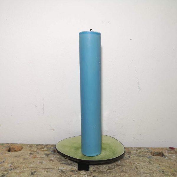 Druipkaars koolzaadwas ø 4 x 25 cm. ercolano blauw
