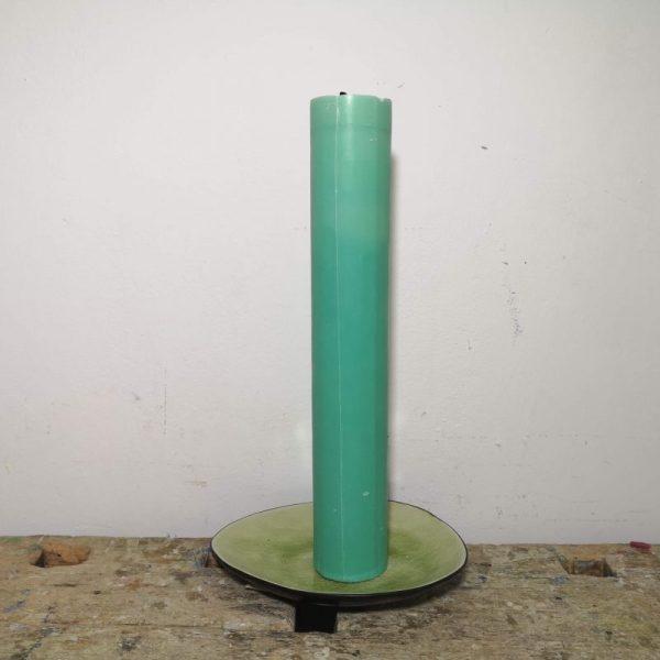 Druipkaars koolzaadwas ø 4 x 25 cm. zee groen