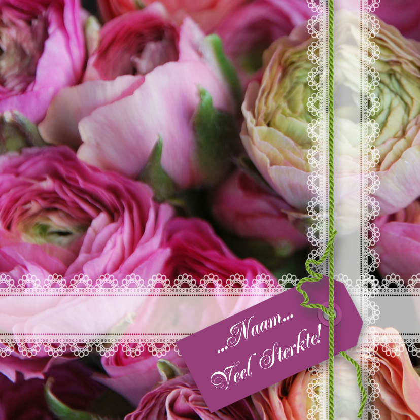 Ranonkel lila groen paars roze Sterkte kaarten Kaartje2go