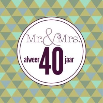 Tekst kaartje 40 jarig huwelijk
