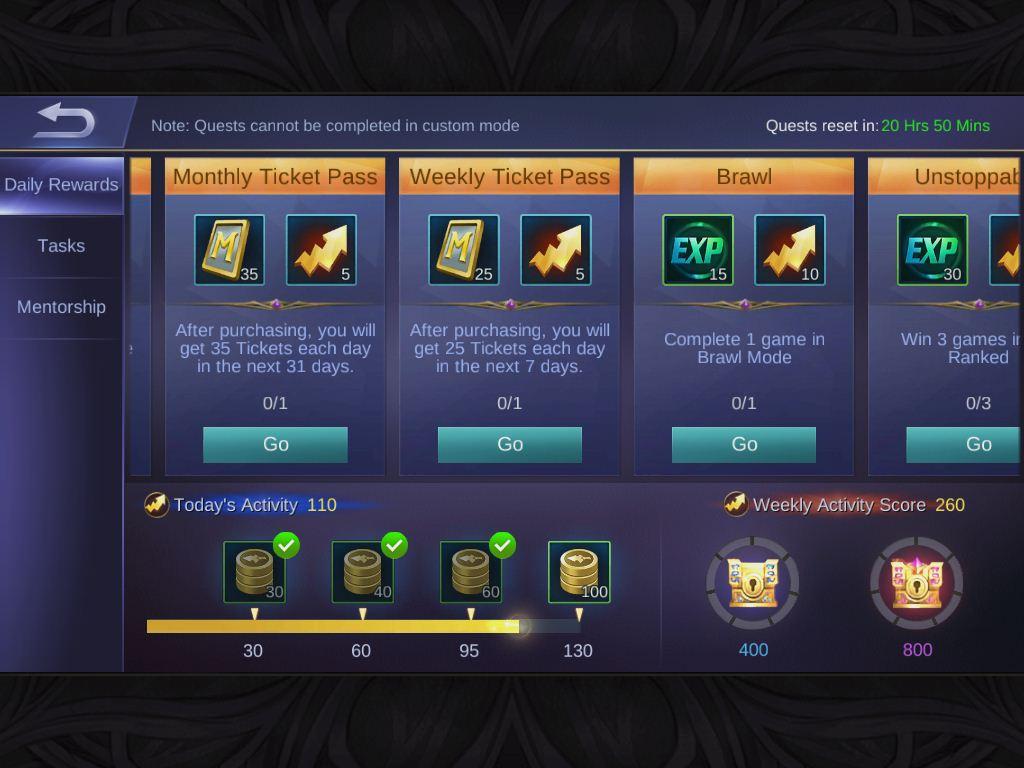 Daily Rewards Mobile Legends Bang Bang