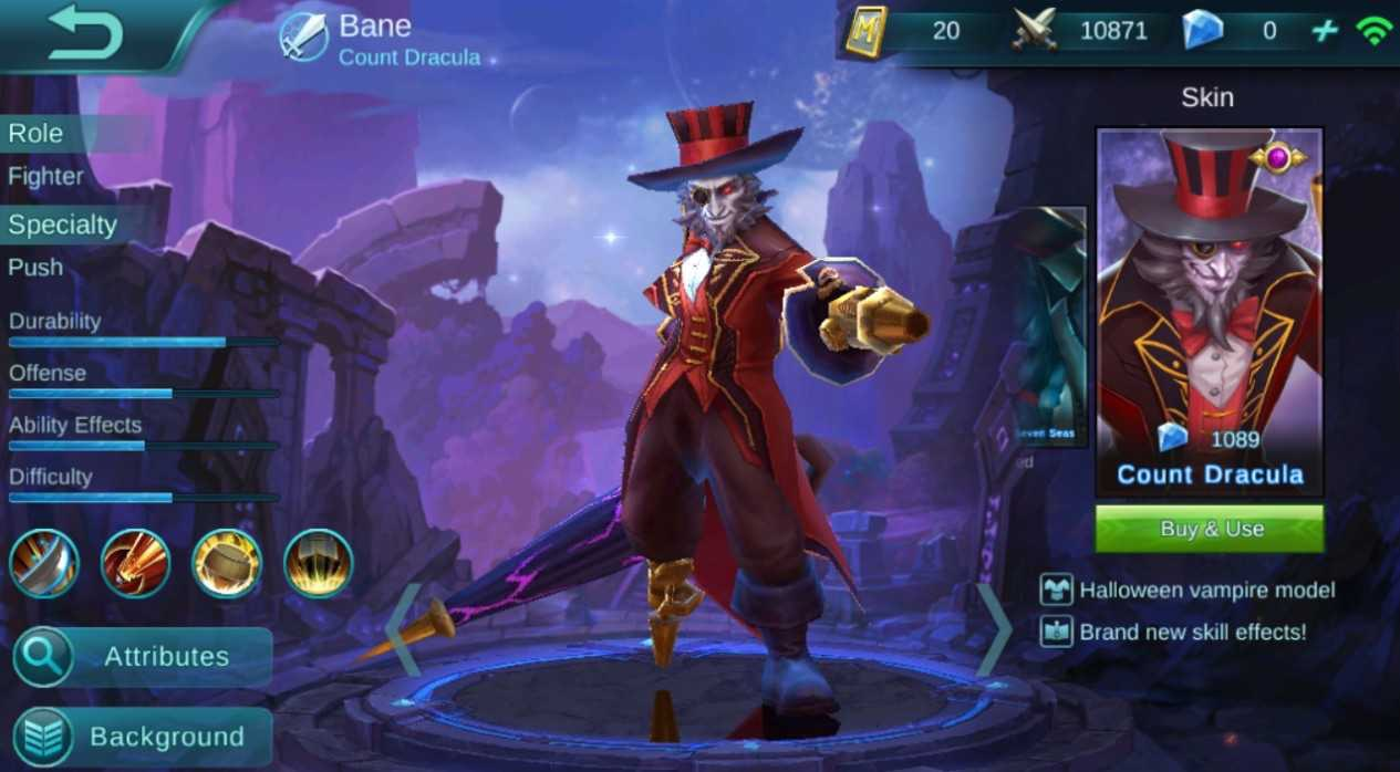 Skin Bane - Count Dracula (1089 diamond) Mobile Legends