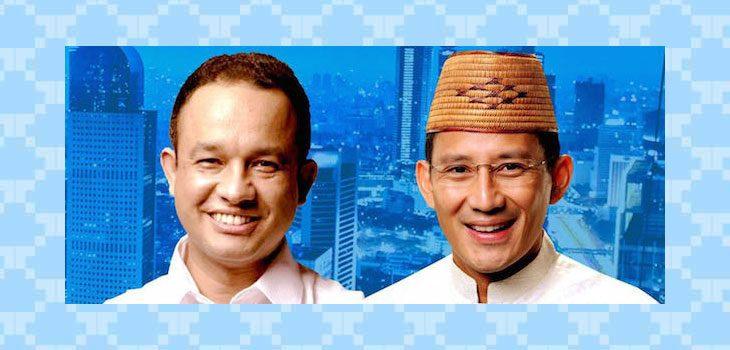 Calon Gubernur dan Wakil Gubernur DKI Jakarta Poros Gerindra-PKS, Anies Baswedan dan Sandiaga Uno.
