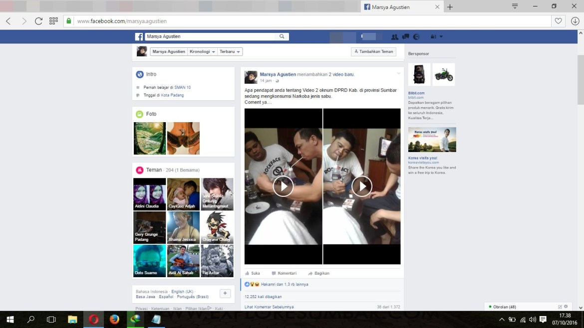 Screenshot facebook 'Marsya Agustien' unggah video. Foto : Istimewa