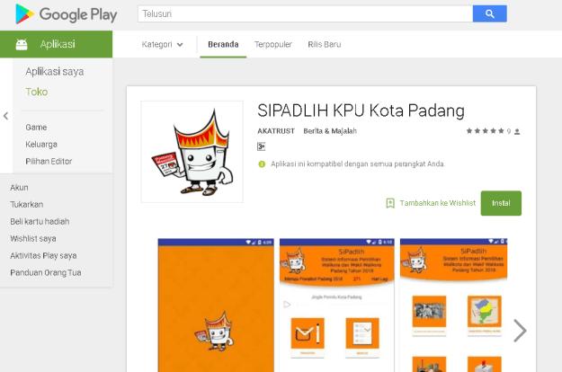 AplikasiSipadlih milik KPU Kota Padang
