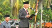 Walikota Padang Mahyeldi Ansarullah menjadi pembina Upacara Peringatan Hari Kesaktian Pancasila di Lapangan Imam Bonjol, Padang, Minggu (1/10/2017).