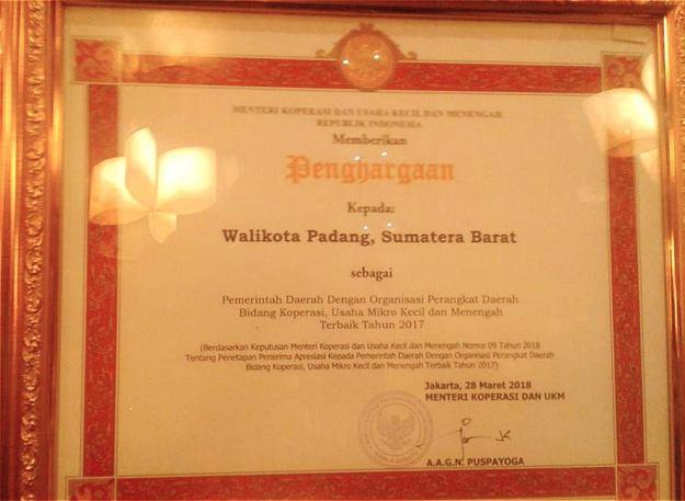 Penghargaan dalam bidang Usaha Mikro Kecil dan Menengah (UKM) dari Kementerian Koperasi dan UKM RI.