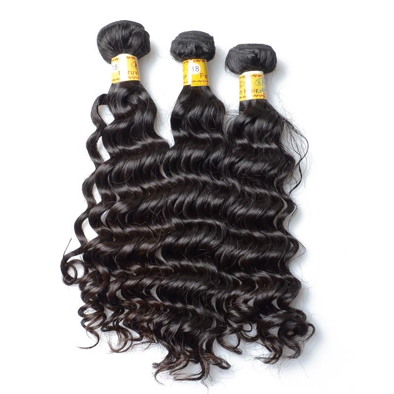 No Chemical Peruvian Bundle Hair Deep Wave Human Hair For