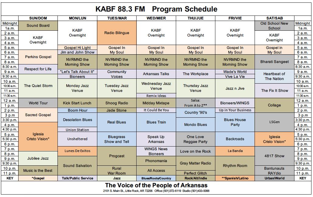 Program Schedule | KABF 88.3FM