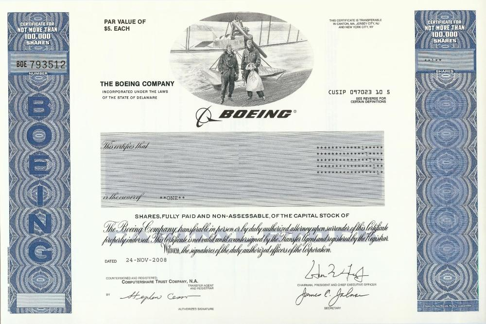 Boeing Stock Certificate
