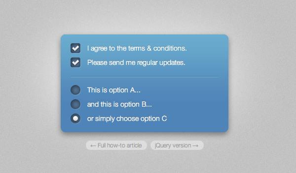 Estilizar checkbox y botones radio con jQuery