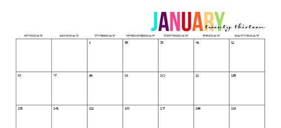 Printable Calendars 2013