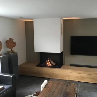 Driezijdige gashaard incl houten tv meubel  kachelsnl