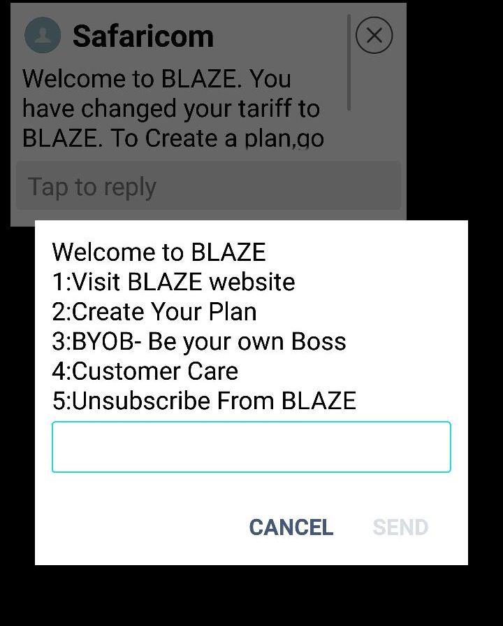 Safaricom Blaze Create Your Plan or BYOB screen