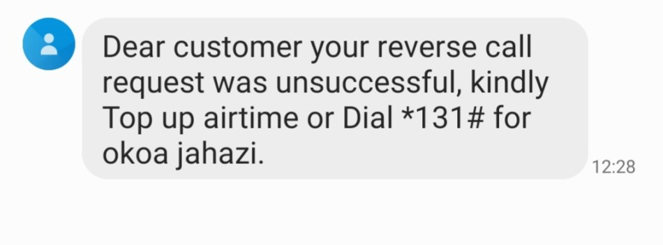 Safaricom reverse call
