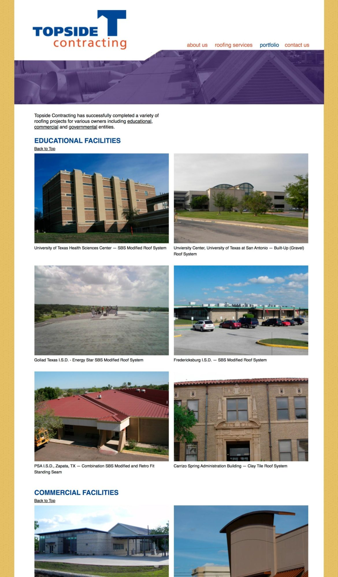 Topside Contracting Website Secondary Page