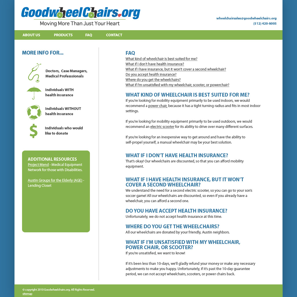 Goodwheelchairs.org website design
