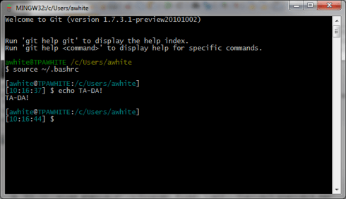 Reload the .bashrc file to activate the custom command prompt style