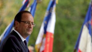 French President Hollande delivers a speech during a ceremony  in Corsica