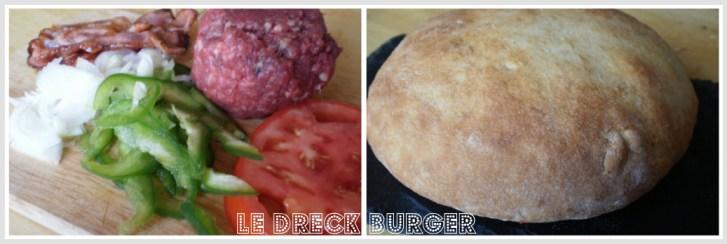 Dreck burger - Ingrédients de l'hamburger maison avec, steak haché, poivron vert bio, oignon bio, tomate bio et poitrine fumée