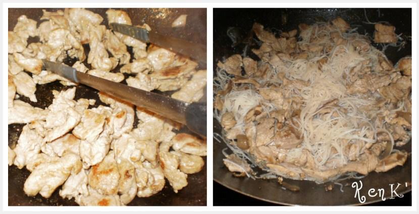 Préparation du porc au caramel cuit dans un wok