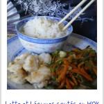 Recette de la lotte au wok avec des légumes bio sautés et du riz basmati