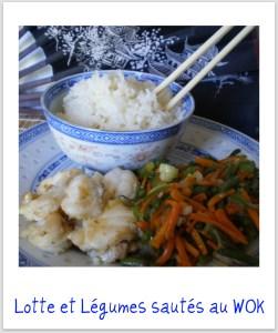 Recette de la lotte au wok avec des légumes sautés et du riz