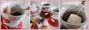 recette d'une fondue de chocolat avec des chamallows et des fruits bio