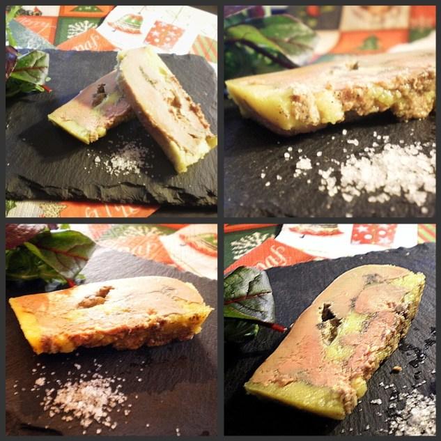 Recette du Foie gras de canard cuit au micro-ondes puis placé en terrine pour les jours de fêtes présenter sur une ardoise avec de la fleur de sel
