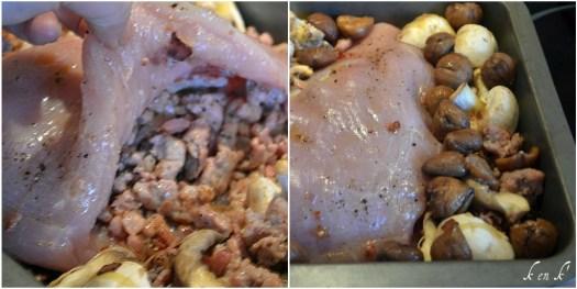 Préparation du bloc de dinde farci avec de la chair à saucisse, lardon et champignon, une recette de Noël