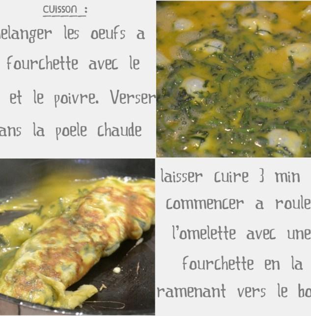 Cuisson en omelette des Asperges sauvages coupées en petits morceaux pour une entrée lors des fêtes de Pâques