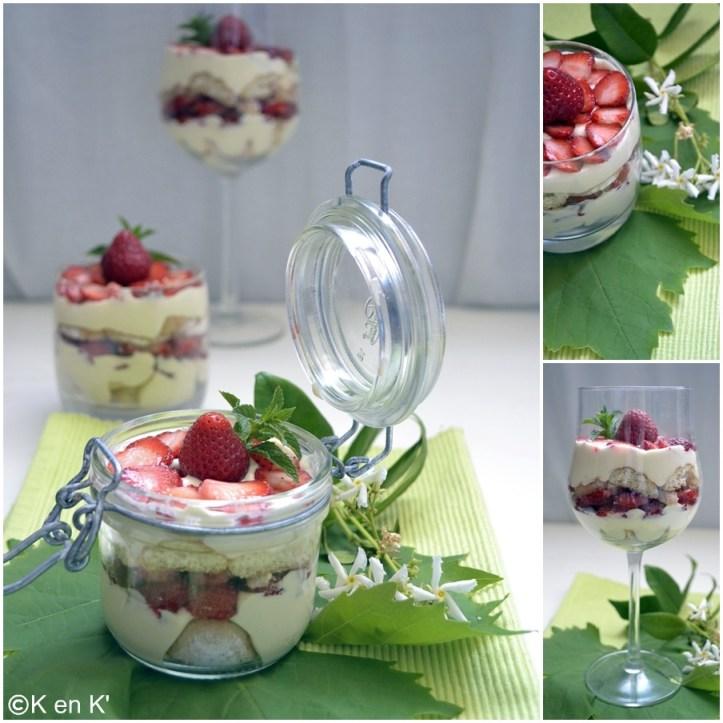 Recette-Dessert-Tiramisu aux fraises bio décoré présenté dans des bocaux