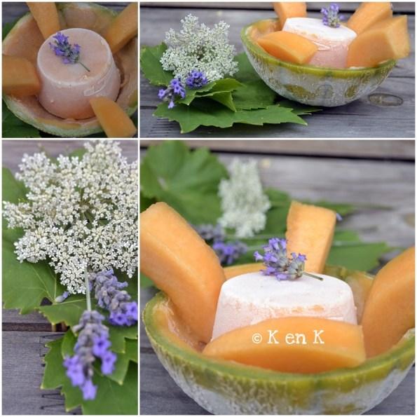 présentation du sorbet melon dans sa coque