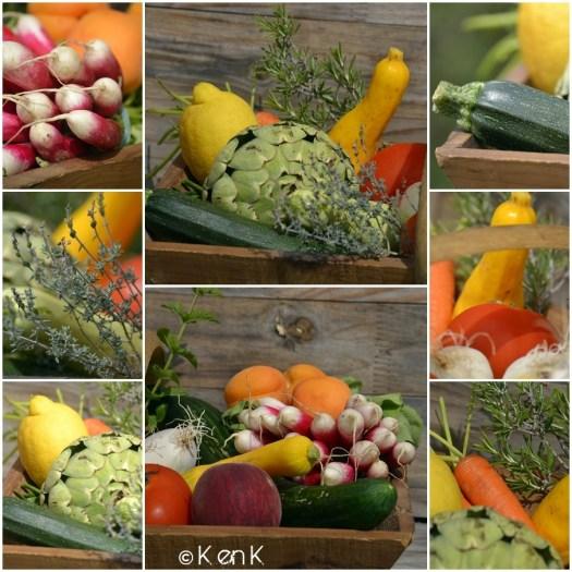 theme 24 nourriture avec un panier de légumes bio