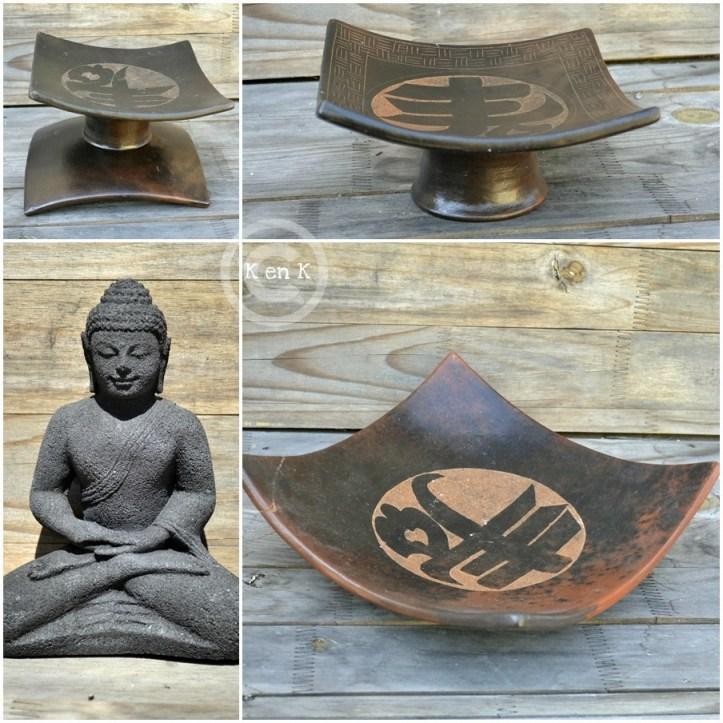 Décoration-assiette, plat et statue de bouddha