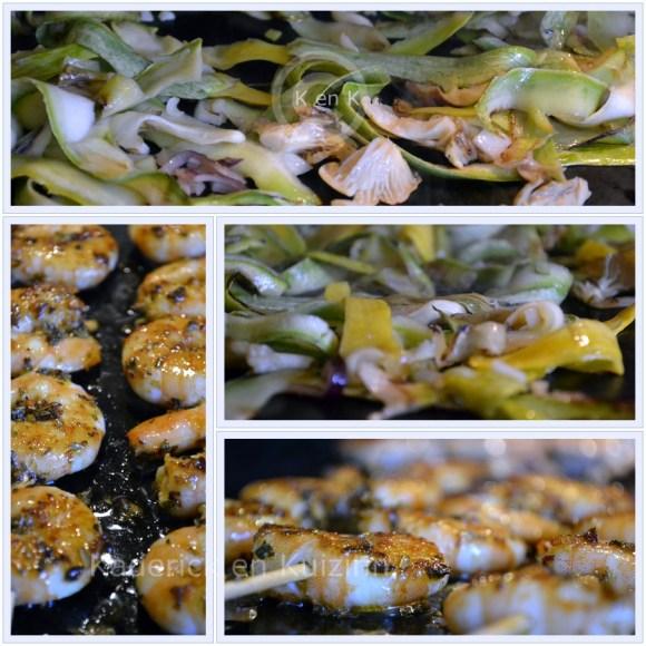 Recette Express-Cuisson des Brochettes crevettes marinées à la plancha