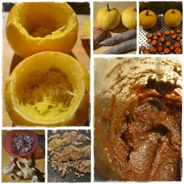 Cuisine bio, pommes or farcies à la purée de carottes