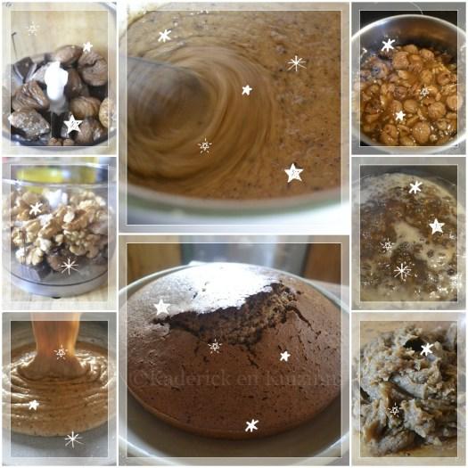 Recette du gateau marron, noix et morceaux de chocolat