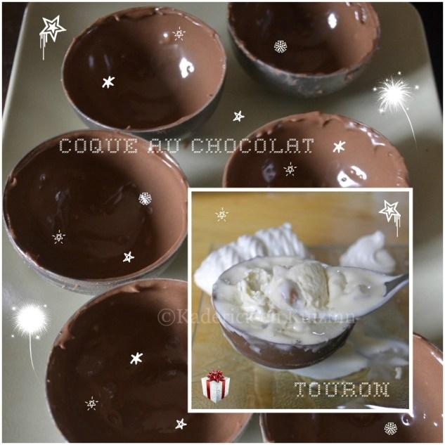 Recette des coques au chocolat et à la glace au nougat