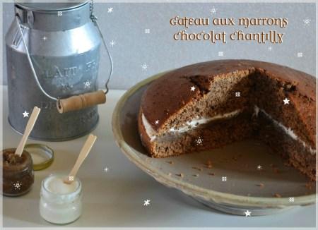 Recette du Gâteau aux morceaux de marrons chocolat et chantilly